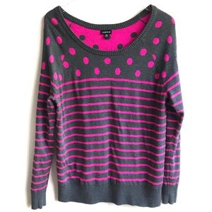 Torrid Pink Gray Polka Dot Striped Sweater 00X L